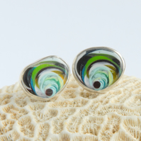 Cornish surfite and sterling silver stud earrings
