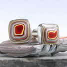 Square Kenworth fordite cufflinks