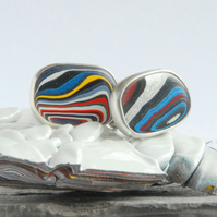 Small Harley fordite and silver swivel cufflinks