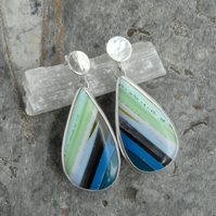 Statement cornish surfite and silver earrings