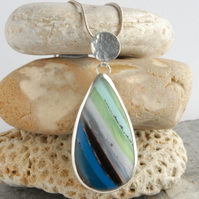 Cornish surfite and silver pendant