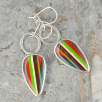 Californian surfite and silver drop earrings