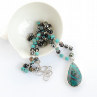Chrysocolla pendant and beaded necklace set