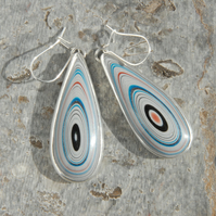 Fordite and silver drop earrings