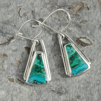 Malachite and chrysocolla silver drop earrings