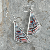 Triangular kenworth fordite and silver earrings