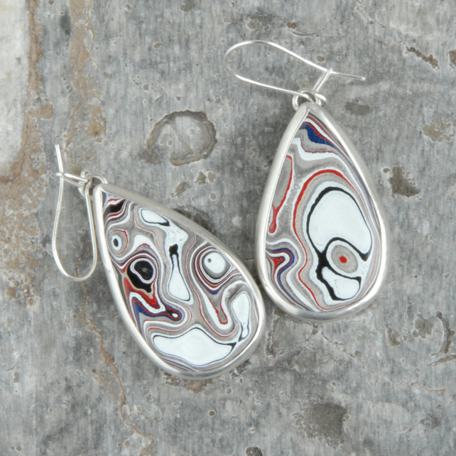 Swirly fordite and silver earrings