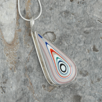 SALE - Sterling silver and 70's truck fordite drop pendant