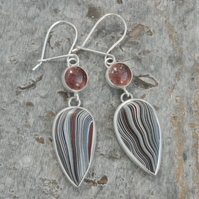 Strawberry quartz and fordite drop earrings