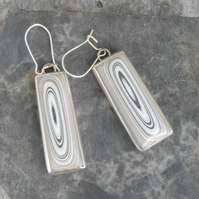 Oblong sterling silver and fordite earrings