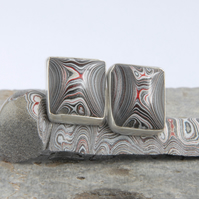 Monochrome fordite and silver cufflinks
