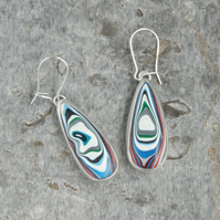 Harley fordite and silver drop earrings