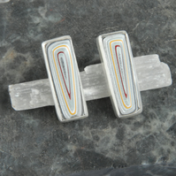 Silver and fordite oblong stud earrings
