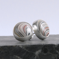Sterling silver and fordite stud earrings