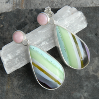 Pastel cornish surfite and silver earrings