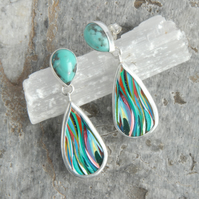 Turquoise, Puerto Rican surfite and silver drop earrings