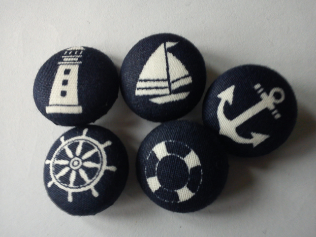 Navy Nautical fabric covered buttons anchor boat lighthouse life preserver