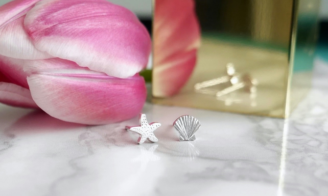 Sterling Silver Shell and Starfish Earrings