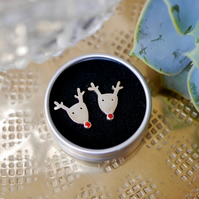 Sterling Silver Rudolph Earrings