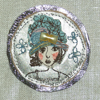 Doris in a Flowery Hat Brooch