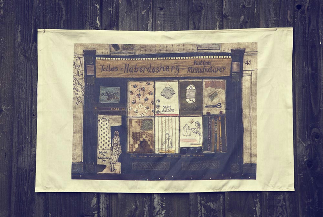 Betty visits the Haberdashery Shop Tea Towel
