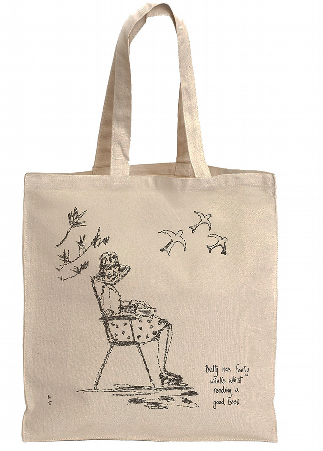 'Betty has forty winks whilst reading a good book' Tote Bag