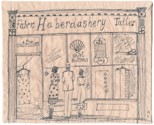 'Betty, William and Edith Maude pop to the Haberdashery Shop' giclee print