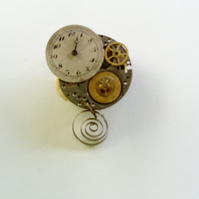 STEAMPUNK GOTH PINS made from vintage watch parts