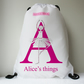 Personalised Alphabet Ballerina Swimming Bag, Girls Drawstring Dance Bag