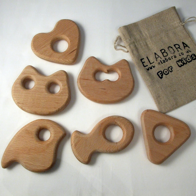 Wooden baby teether