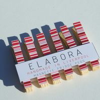 Red Stripey Magnetic Fridge Pegs