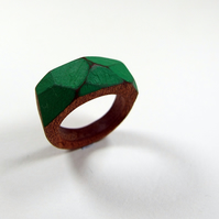 Green Wooden Gem Ring