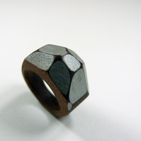 Silver Wooden Gem Ring