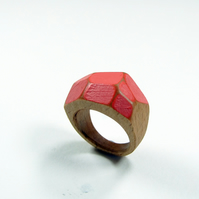 Pink wooden Gem Ring
