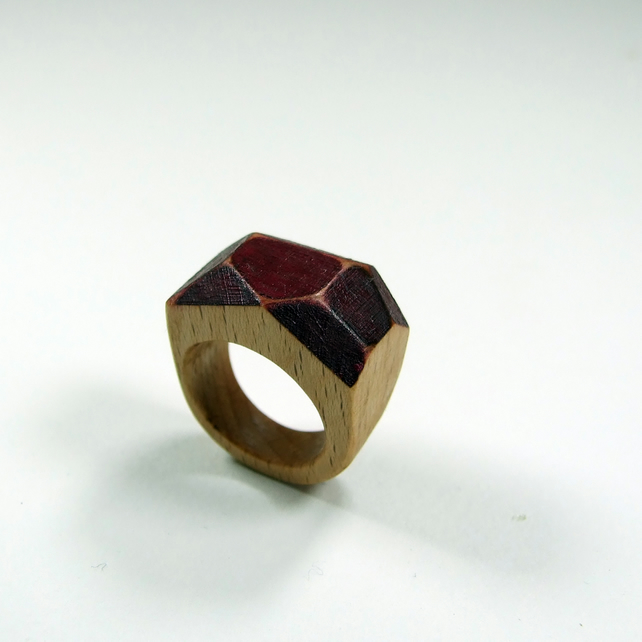 Burgundy wooden Gem Ring