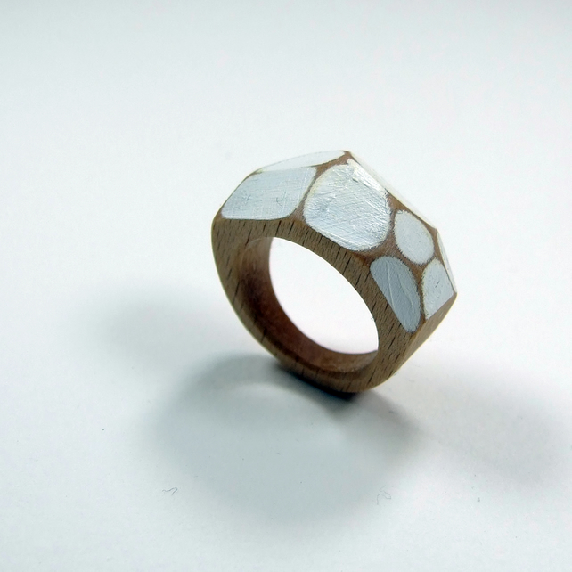 white wooden Gem Ring