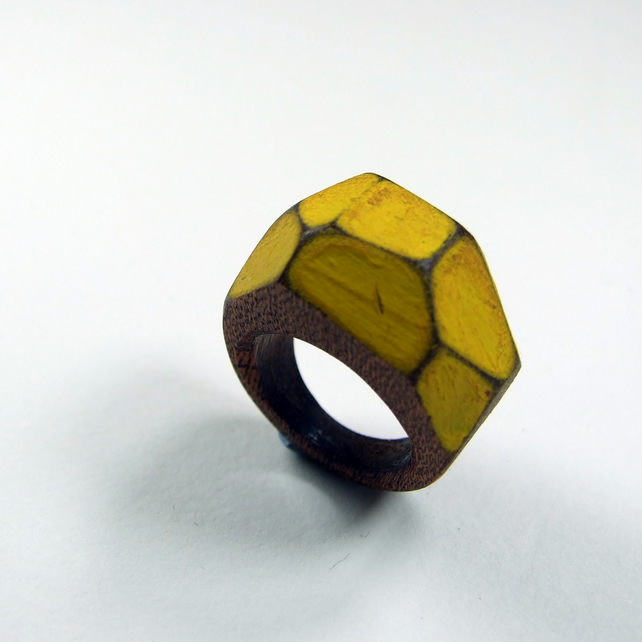 Yellow wooden Gem Ring