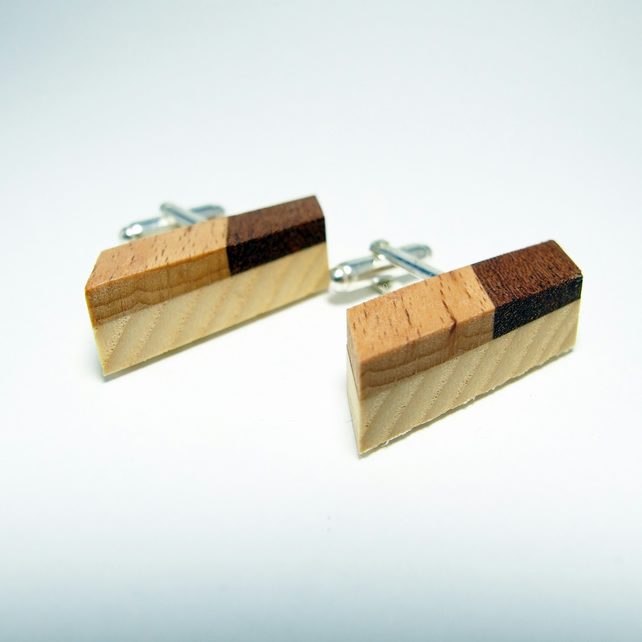 Parallelogram shape wooden cufflinks