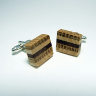 Stripey wooden cufflinks