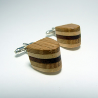 Stripey rounded wooden cufflinks