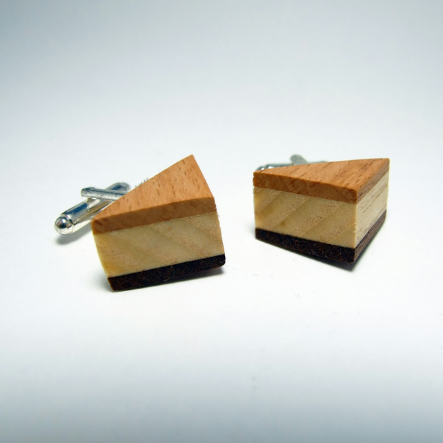 Triangle shape wooden cufflinks