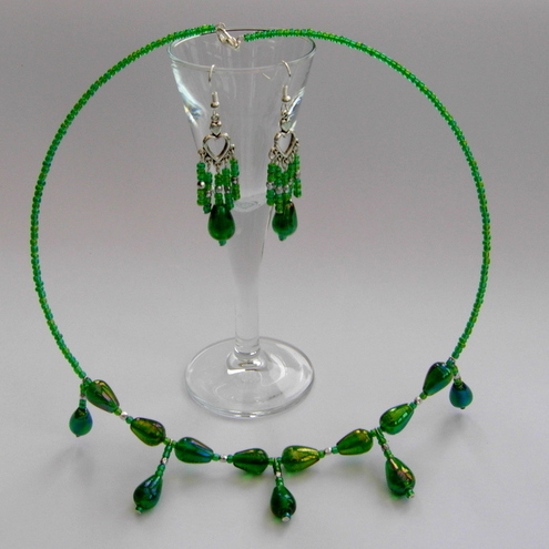 "Necklace & earring set ""Agatha"""