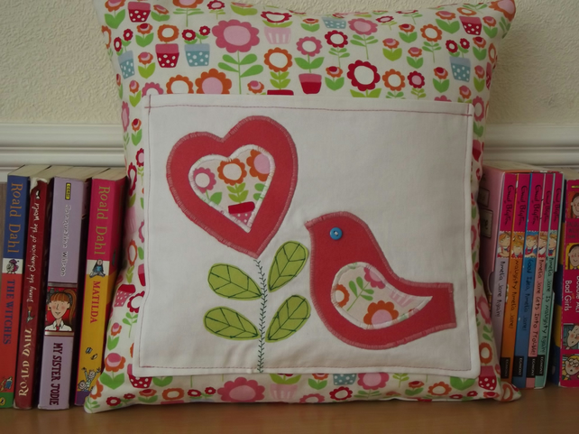 Cushion with bird and heart applique folksy craftjuice
