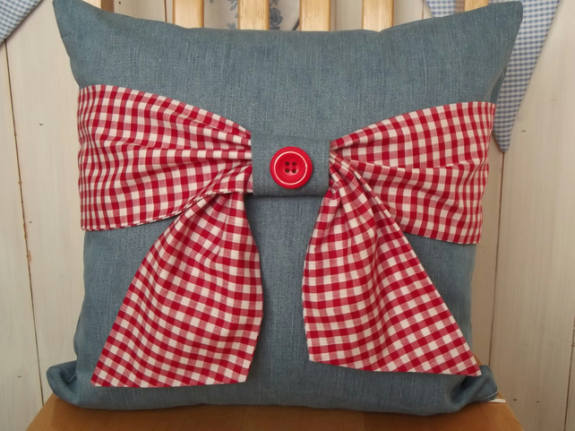 Denim Cushion with Gingham Bow (Free UK P&P)