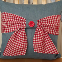 Denim Cushion Cover with Gingham Bow