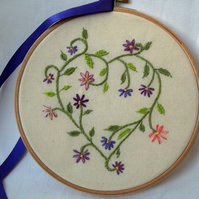 Heart and Flowers Hand Embroidered Textile Art