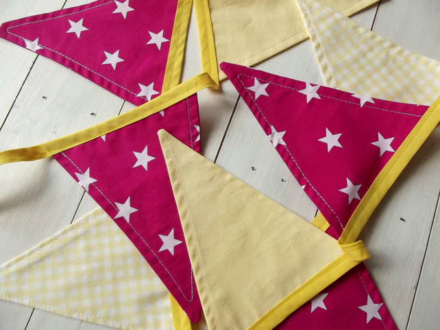 Yellow and Pink Bunting (Free UK P&P)