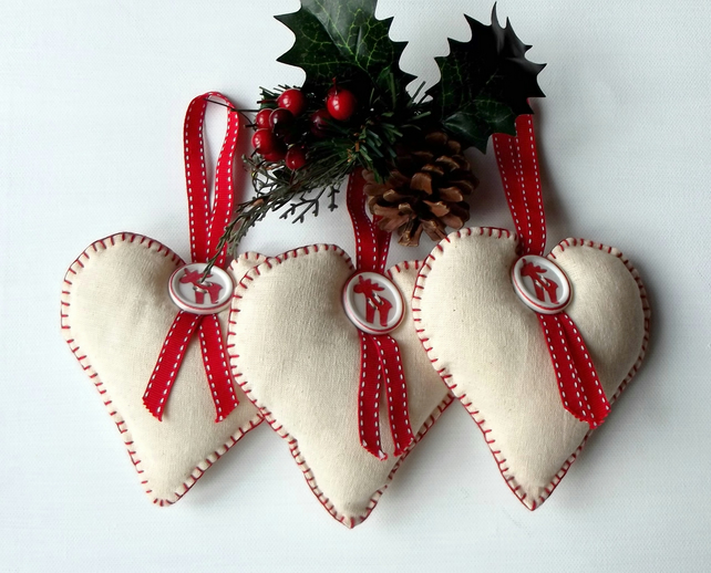 Set of 3 Christmas Hanging Hearts