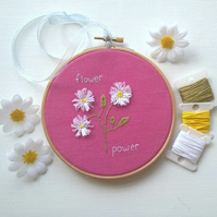 Hand Embroidered Flowers in Hoop