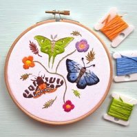 SALE - Moths and Butterfly Embroidery